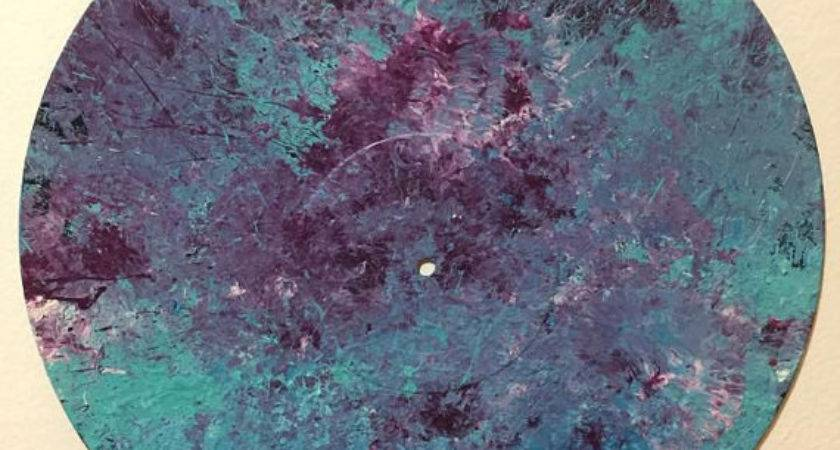 Abstract Painting Vinyl Record Fucshia Turquoise Teal
