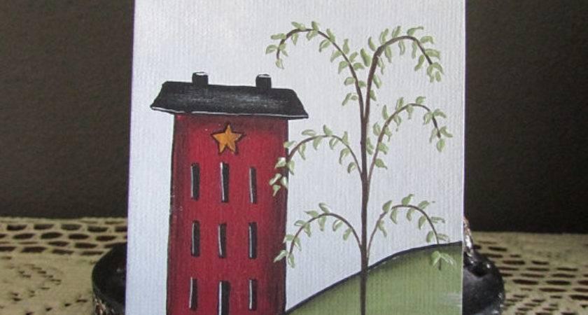 Aceo Primitive Saltbox House Home Decor Hope Sign Original