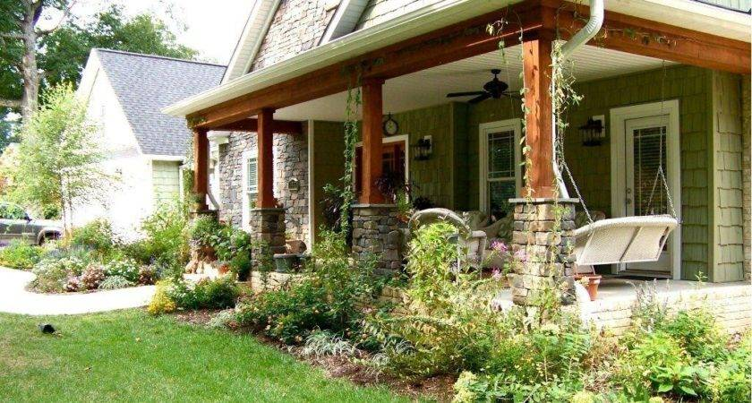 Adding Porch Ranch Style House Garden