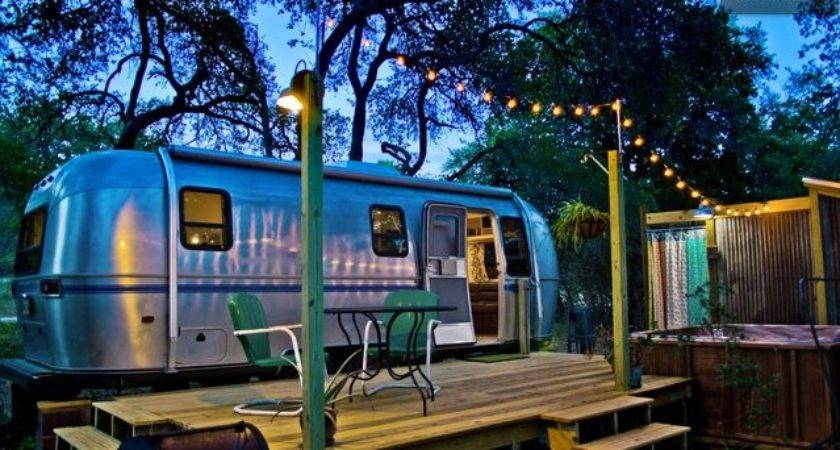 Airstream Tiny House Deck Hot Tub Fire Pit