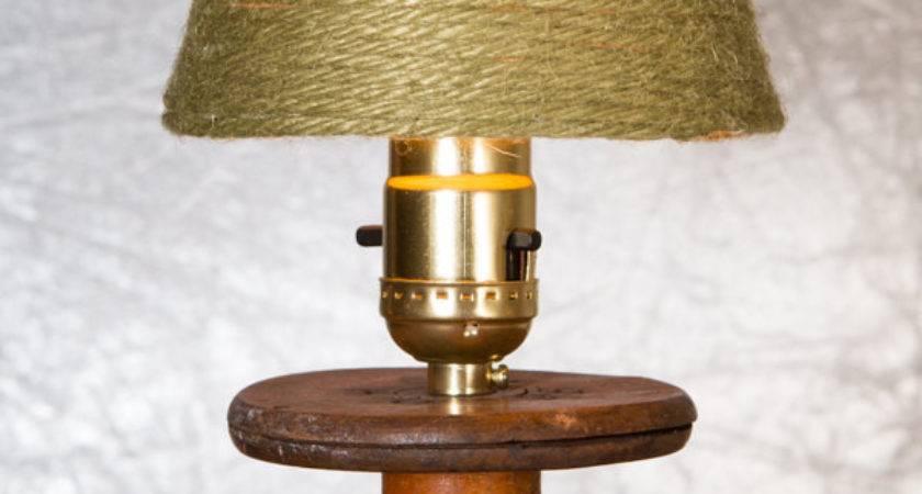 Antique Spool Lamp Night Light Vintage Yarn