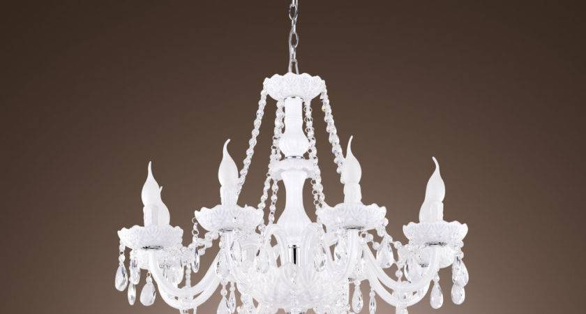 Arms White Crystal Chandelier Candle Light Pendant
