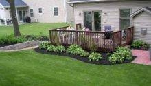 Around Deck Landscape Black Mulch Really Sets Off
