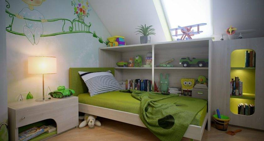 Attic Spaces Green White Boys Room Wall Mural Interior