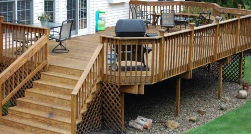 Back Yard Kitchen Ideas Outdoor Wood Deck Designs