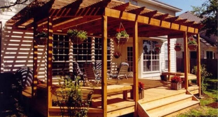 Backyard Deck Design Open Roof Wood