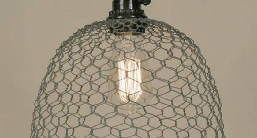 Barn Roof Chicken Wire Dome Pendant Lamp Light Lighting