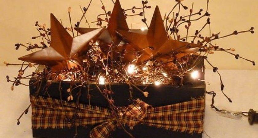 Barn Star Box Berries Lights Country Primitive Decor