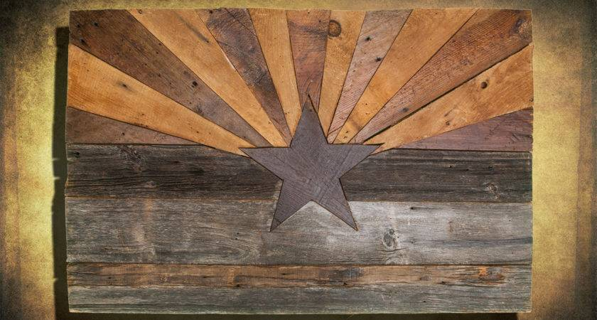 Barn Wood Arizona Flag Handmade Distressed Natural