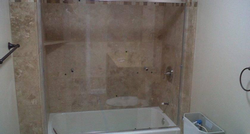 Bathroom Remodel Shower Tub Combo Done Travertine Yelp
