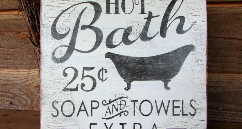 Bathroom Sign Wood Bath Primitive