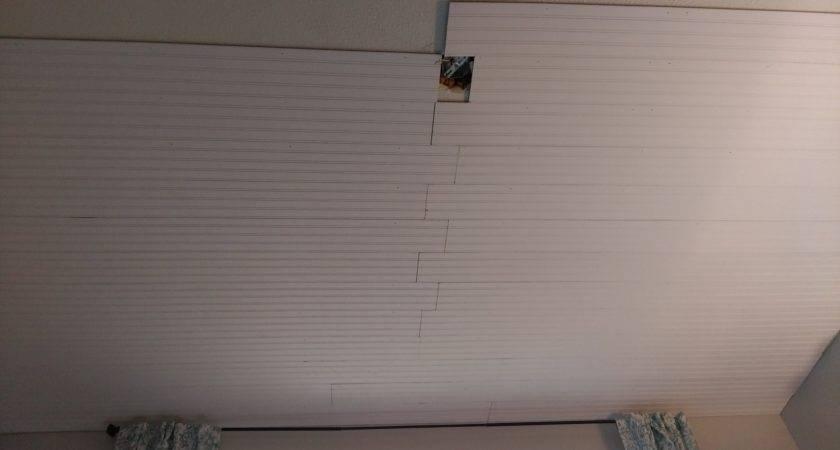 Beadboard Plank Ceiling Over Popcorn Diy