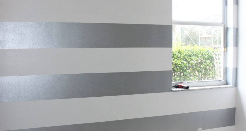 Bedroom Artsy Striped Accent Wall Ideas Painting