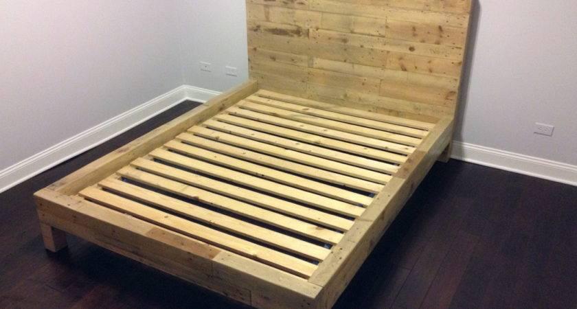 Bedroom Natural Wood Pallet Bed Frame Simple Design