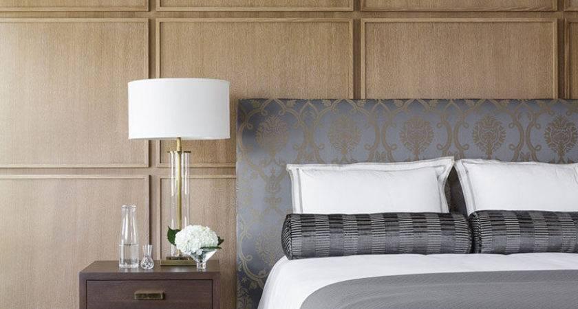 Bedroom Uses Square Wood Panels Create Modern