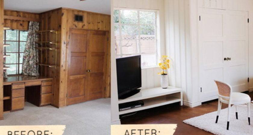 Before After Dated Wood Paneling Gets Coat Light