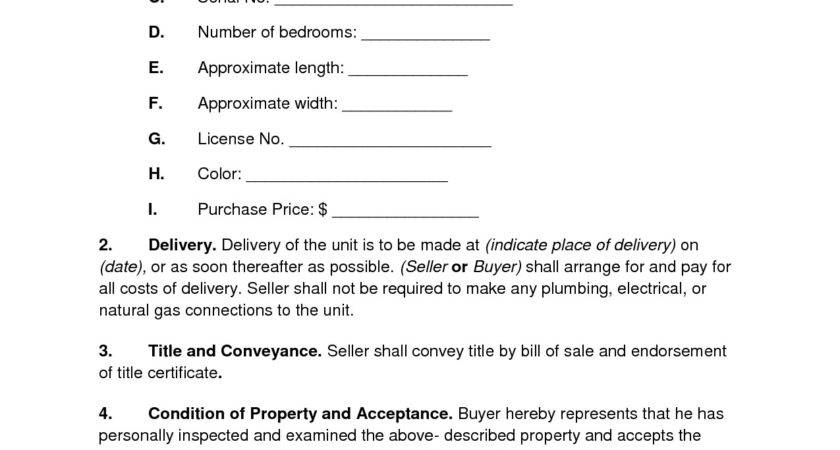 Best Mobile Home Purchase Agreement Minnesota