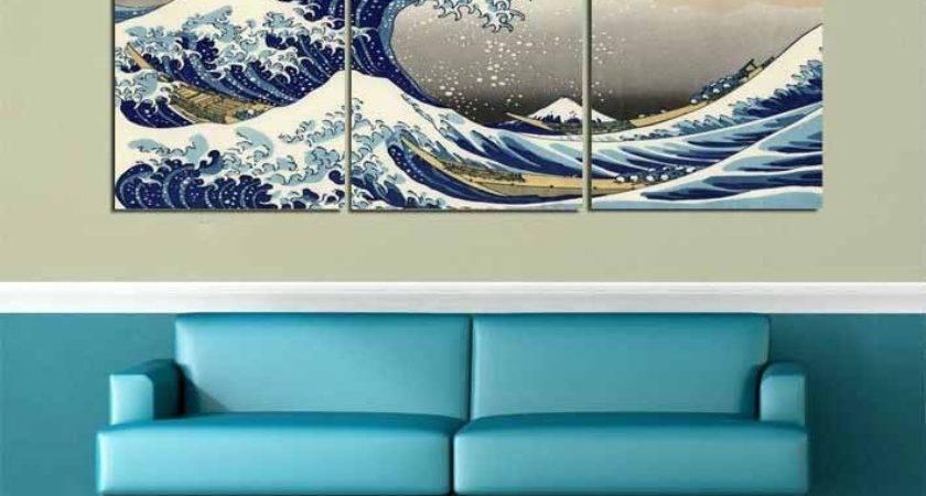 Big Modern Home Decor Wall Art Great Wave Off