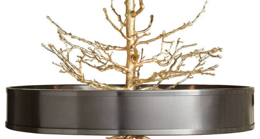 Bijou Tree Branch Hollywood Regency Brass Bronze Ceiling