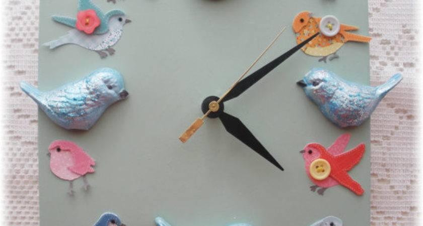 Bird Home Decor Ceramic Clock Blue Birds Vintage Design