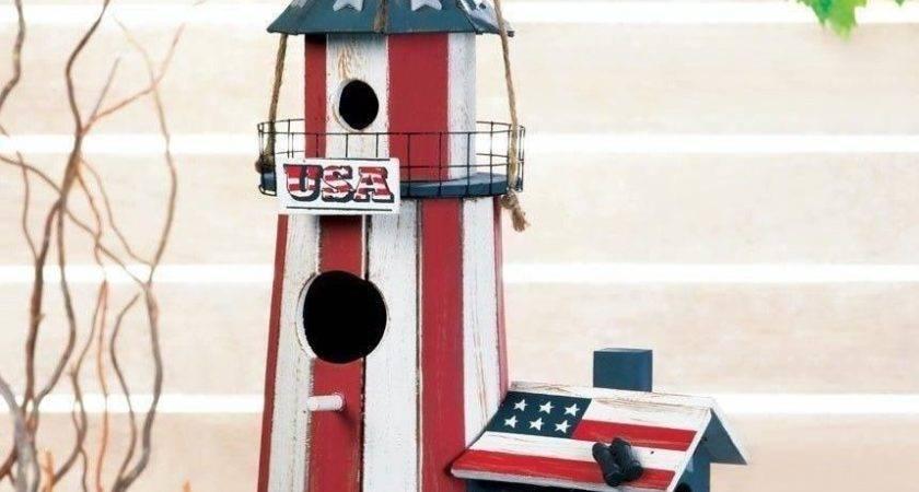 Birdhouses Patriotic Lighthouse Red White Blue Bird House