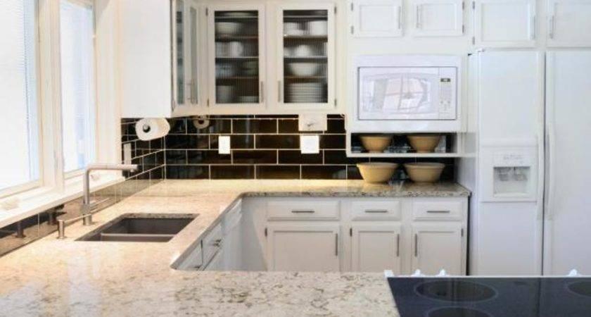 Black Brick Porcelain Backsplash Tiles Small Kitchen