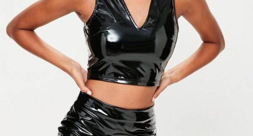 Black Vinyl Crop Top Mini Skirt Set Missguided