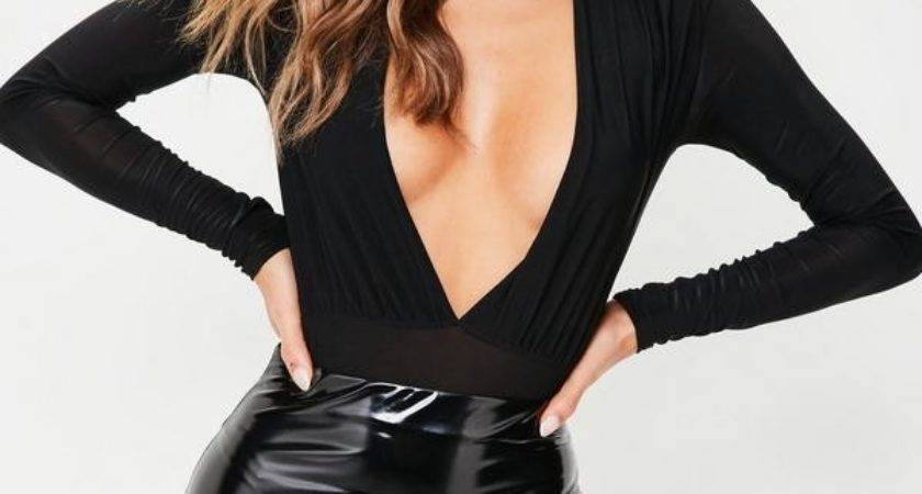Black Vinyl Curve Hem Mini Skirt Missguided