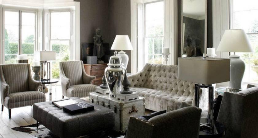 Black White Grey Living Room Design Grasscloth