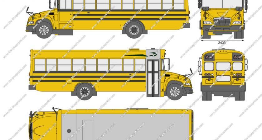 Blue Bird Vision School Bus Vector Drawing