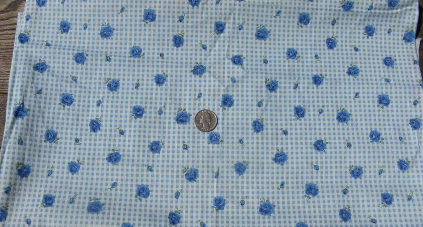 Blue Cotton Floral Fabric Prairie Girl Country Primitive