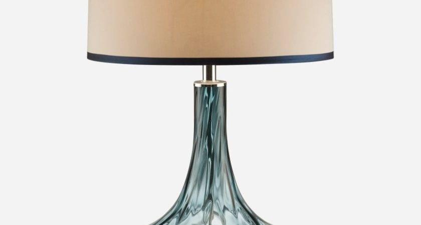 Blue Thumbprint Glass Table Lamp Superb Beachy Floor