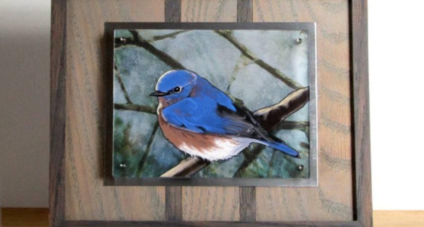 Bluebird Float Frame Paper Cut Wall Art Shelf Decor