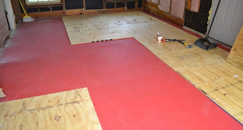 Breakfast Room Progress Plywood Subfloor Installed Over