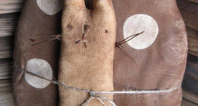 Brown Egg Bunny Epattern Primitive Country Craft Cloth Doll