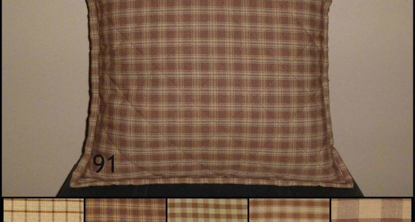 Brown Tan Plaid Quilted Throw Pillow Cover Various