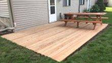 Build Ground Level Wood Deck Round Designs