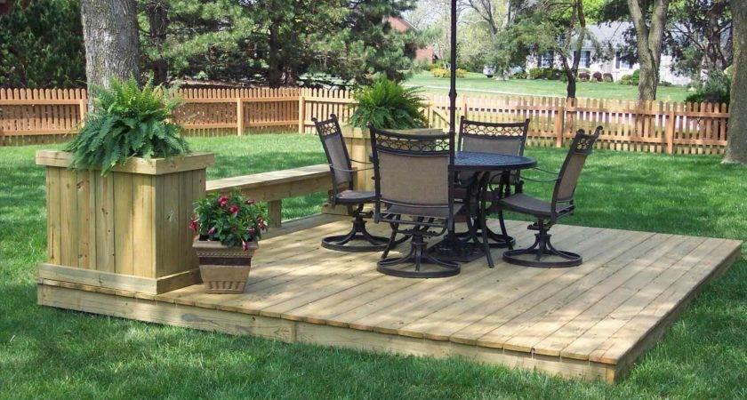 Build Ground Level Wood Deck Round Designs