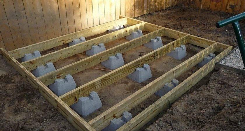 Building Ground Level Deck Blocks Outdoor