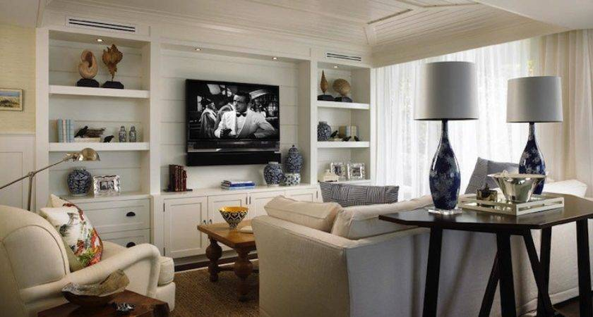 Built Cabinets Cottage Living Room Cindy Ray