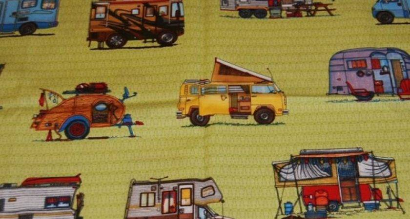 Camper Motor Home Retro Happy Lime Cotton Fabric