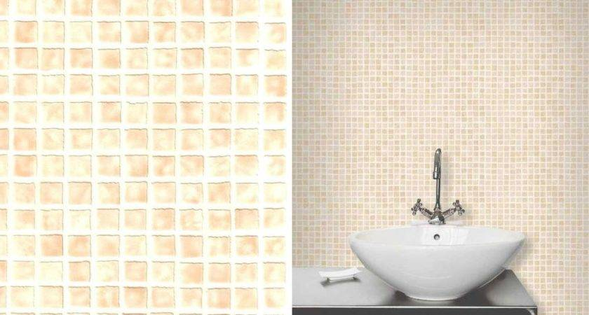 Ceramica Cream Mozaic Tile Expanded Vinyl Kitchen Bathroom