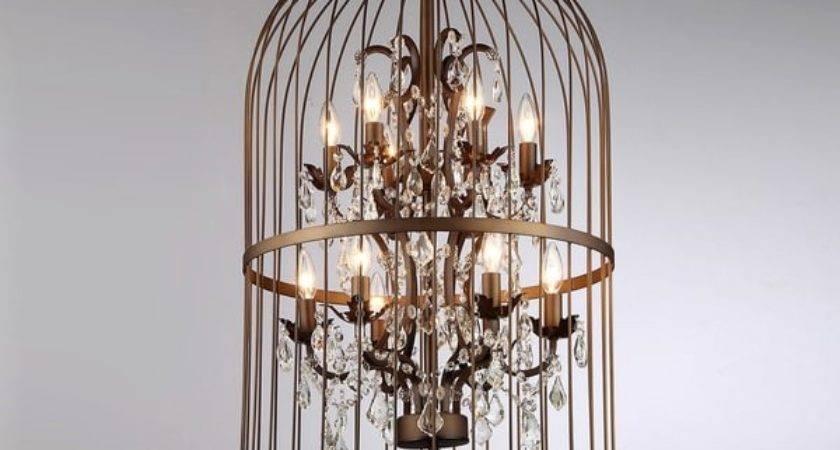 Chandelier Bird Cage Antique Bronze Light Ceiling Fixture