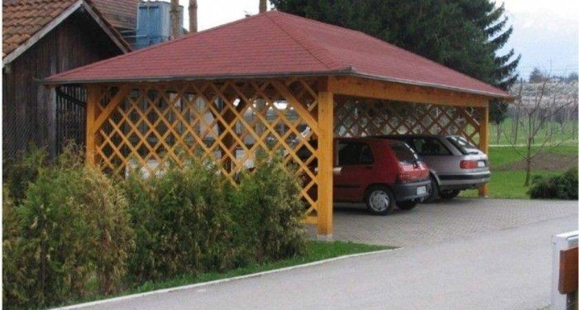 Cheap Wooden Carport Open Trellis Sides Outdoor Room
