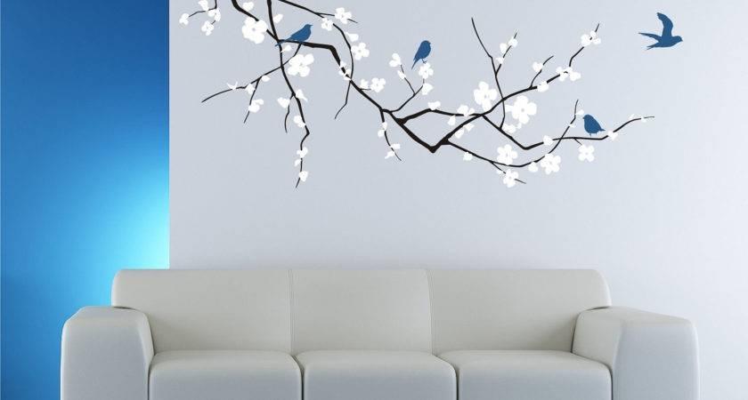 Cherry Blossom Tree Branch Wall Decal Birds Vinyl
