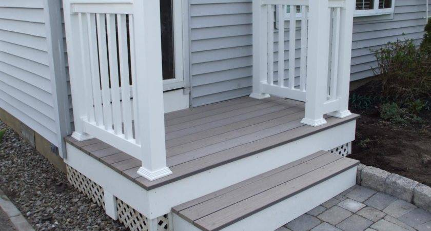 Chic Front Porch Design Including Wood Floor