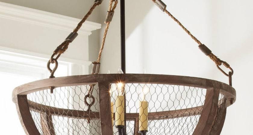 Chicken Wire Basket Chandelier Small Shades Light