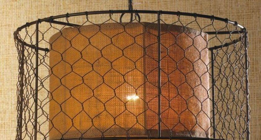 Chicken Wire Burlap Drum Pendant Lighting