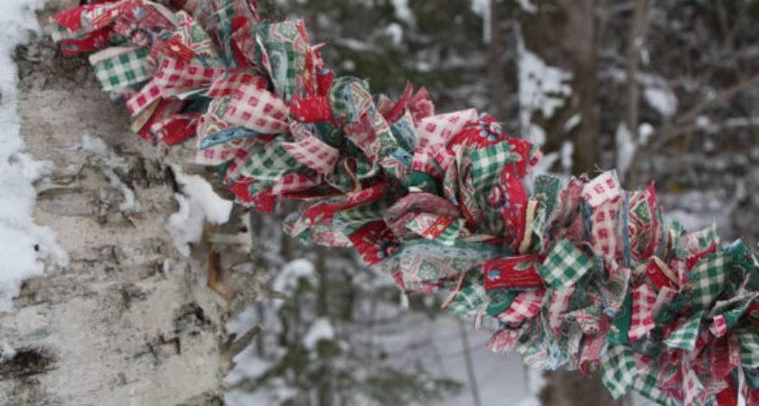 Christmas Tree Garland Fabric Swag Rag Rustic Country