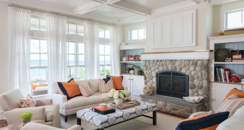 Coastal Chic Beach Style Living Room Providence